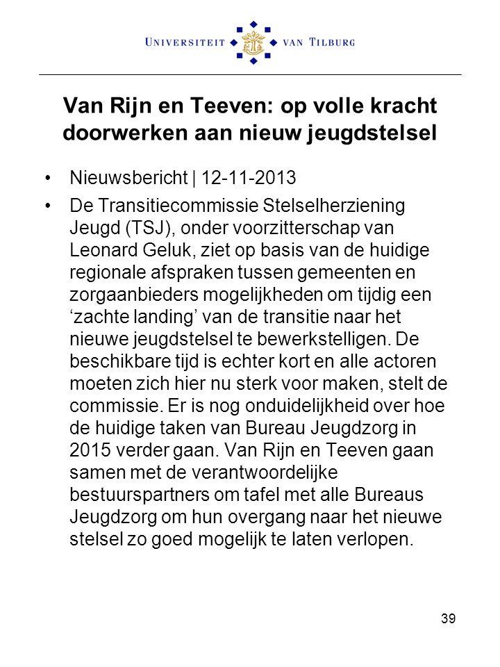 Van Rijn en Teeven: op volle kracht doorwerken aan nieuw jeugdstelsel