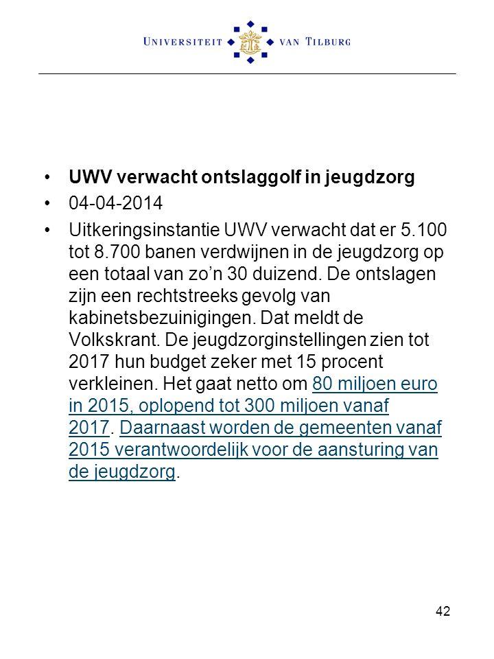 UWV verwacht ontslaggolf in jeugdzorg