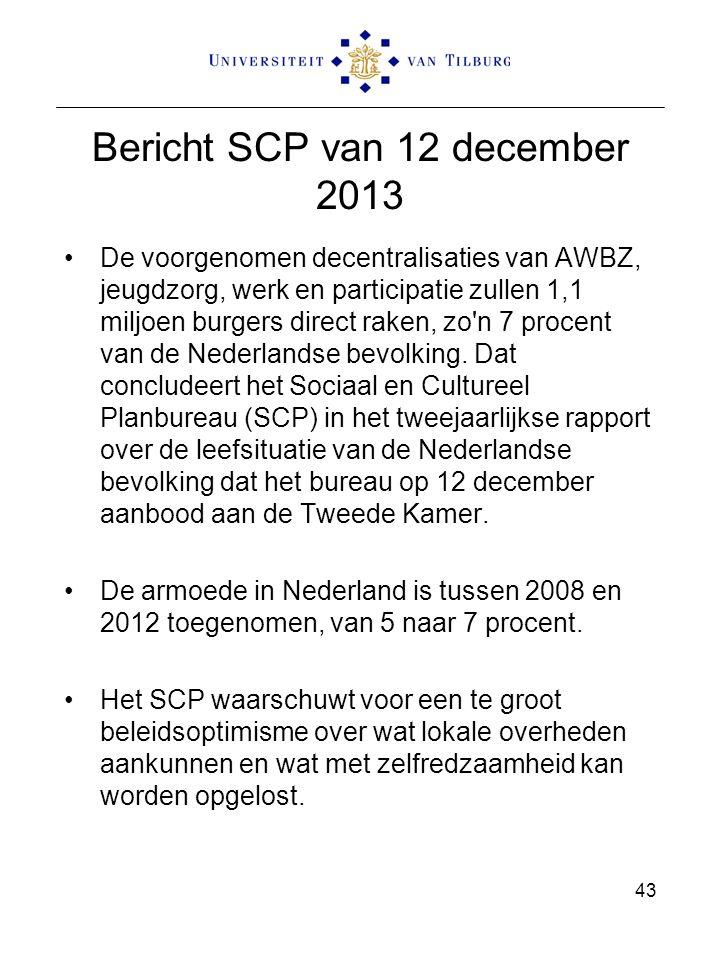 Bericht SCP van 12 december 2013