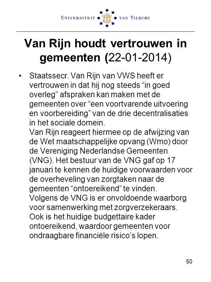 Van Rijn houdt vertrouwen in gemeenten (22-01-2014)