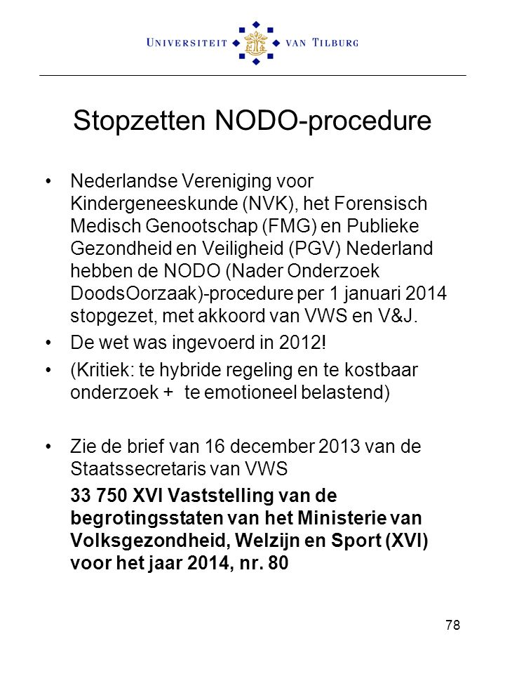 Stopzetten NODO-procedure