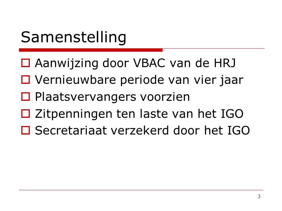 Samenstelling Aanwijzing door VBAC van de HRJ