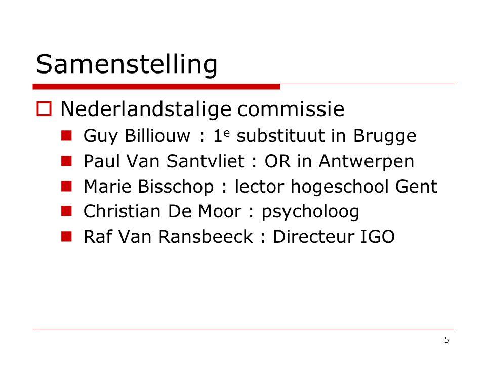 Samenstelling Nederlandstalige commissie