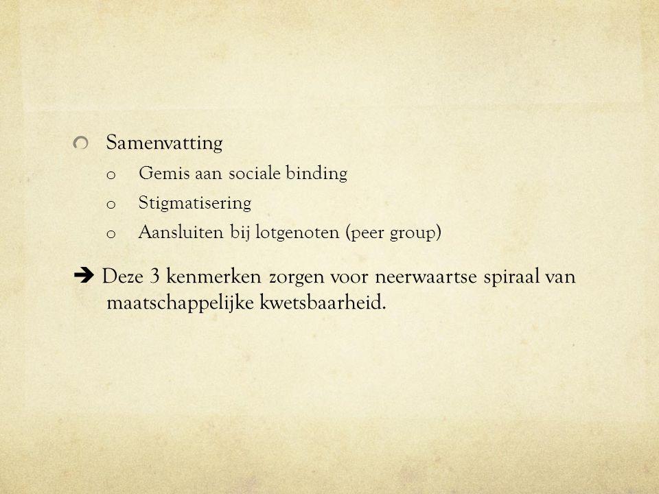 Samenvatting Gemis aan sociale binding. Stigmatisering. Aansluiten bij lotgenoten (peer group)