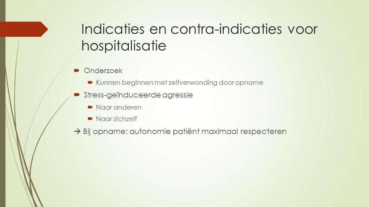 Indicaties en contra-indicaties voor hospitalisatie