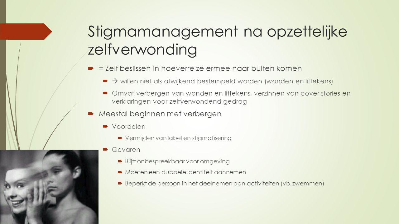 Stigmamanagement na opzettelijke zelfverwonding