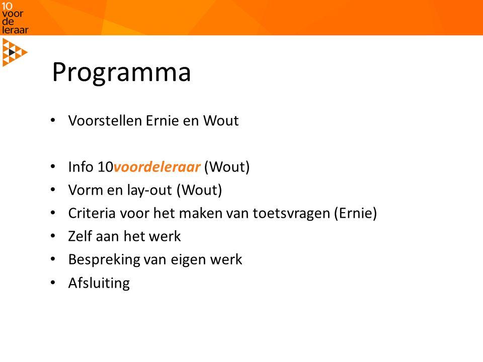 Programma Voorstellen Ernie en Wout Info 10voordeleraar (Wout)