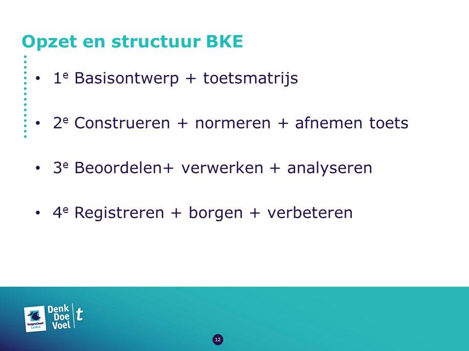 Opzet en structuur BKE 1e Basisontwerp + toetsmatrijs