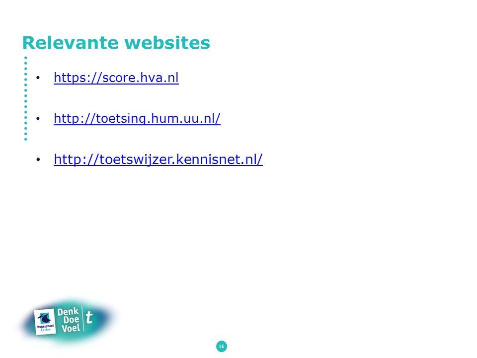 Relevante websites http://toetswijzer.kennisnet.nl/