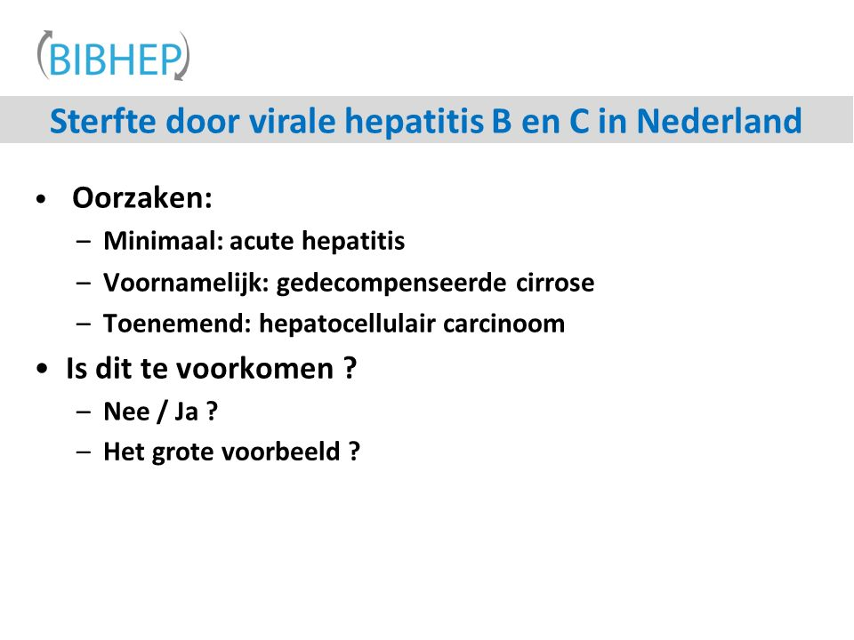 Sterfte door virale hepatitis B en C in Nederland