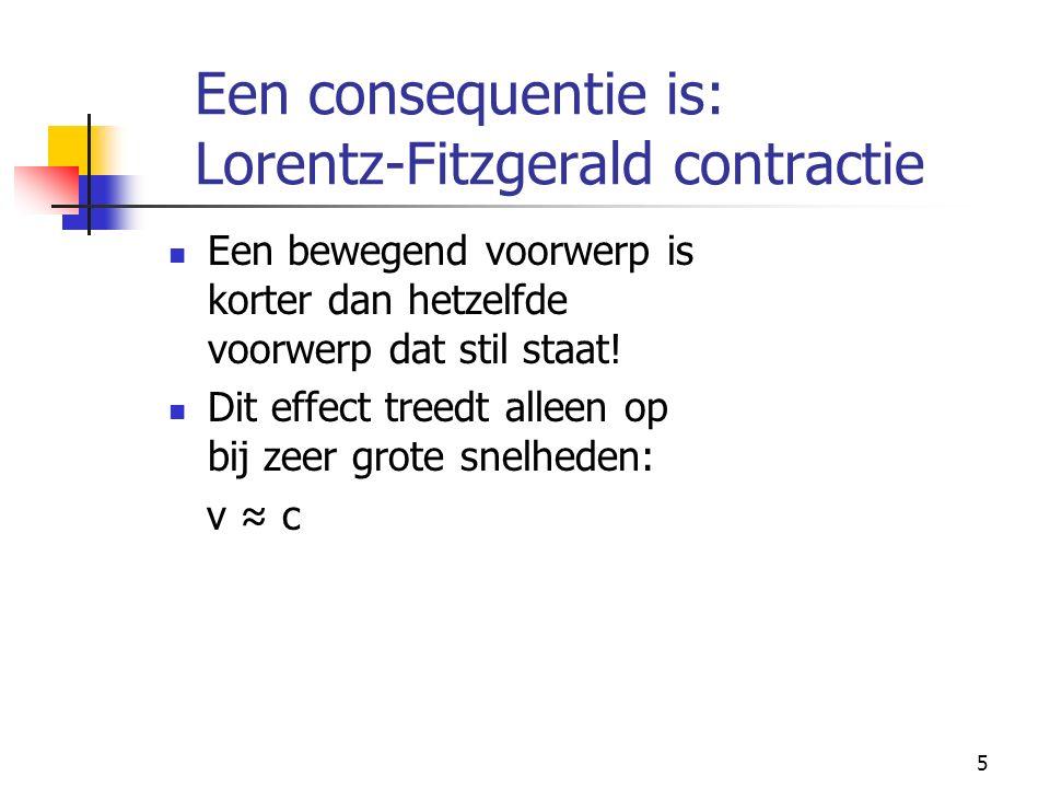 Een consequentie is: Lorentz-Fitzgerald contractie
