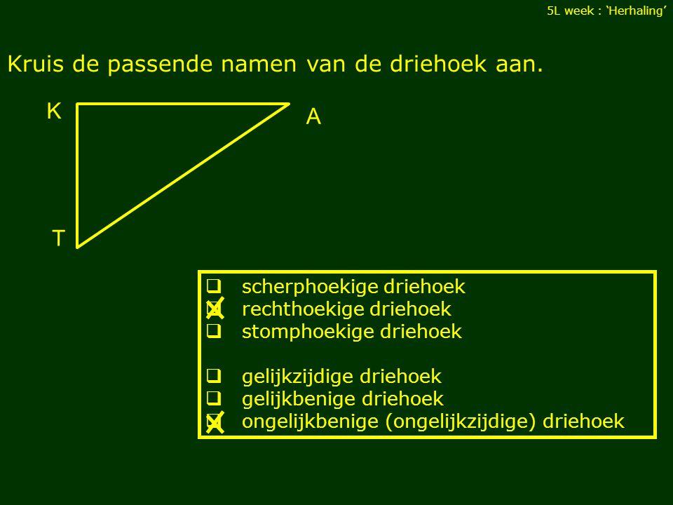 Kruis de passende namen van de driehoek aan.