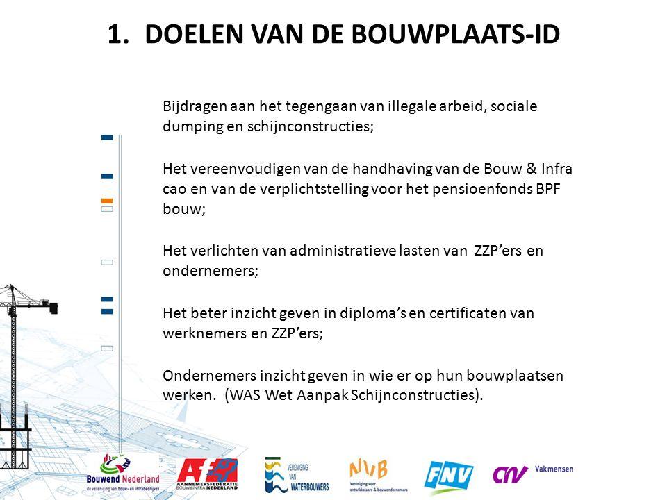 DOELEN VAN DE BOUWPLAATS-ID