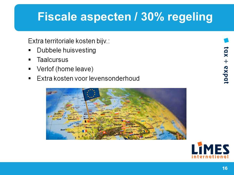 Fiscale aspecten / 30% regeling