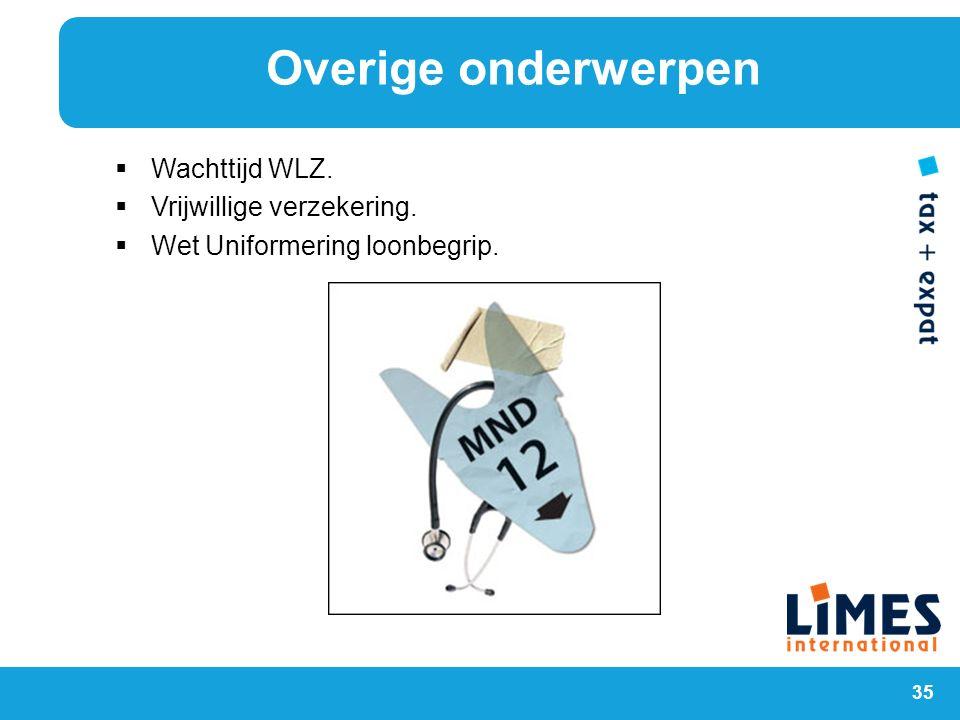 Wachttijd WLZ. Vrijwillige verzekering. Wet Uniformering loonbegrip.