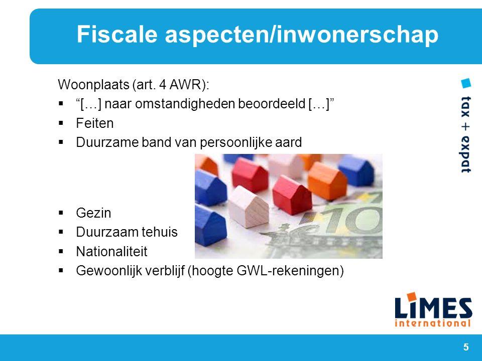 Fiscale aspecten/inwonerschap