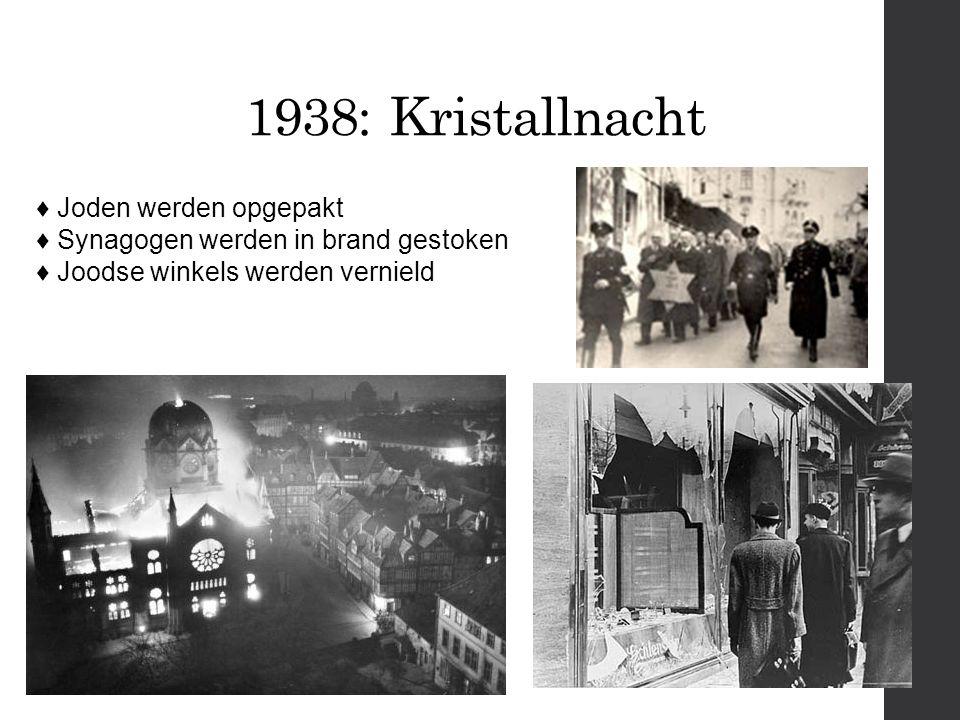 1938: Kristallnacht ♦ Joden werden opgepakt ♦ Synagogen werden in brand gestoken ♦ Joodse winkels werden vernield.