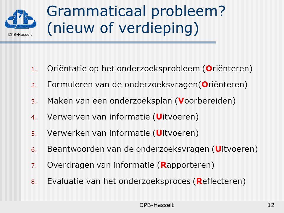 Grammaticaal probleem (nieuw of verdieping)