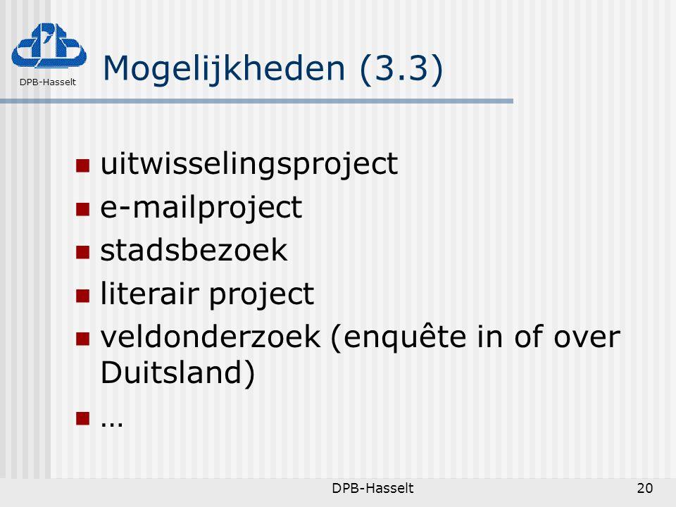 Mogelijkheden (3.3) uitwisselingsproject e-mailproject stadsbezoek