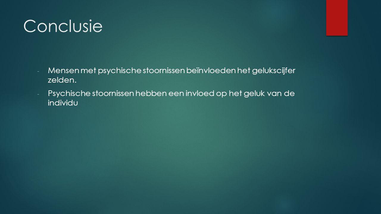 Conclusie Mensen met psychische stoornissen beïnvloeden het gelukscijfer zelden.