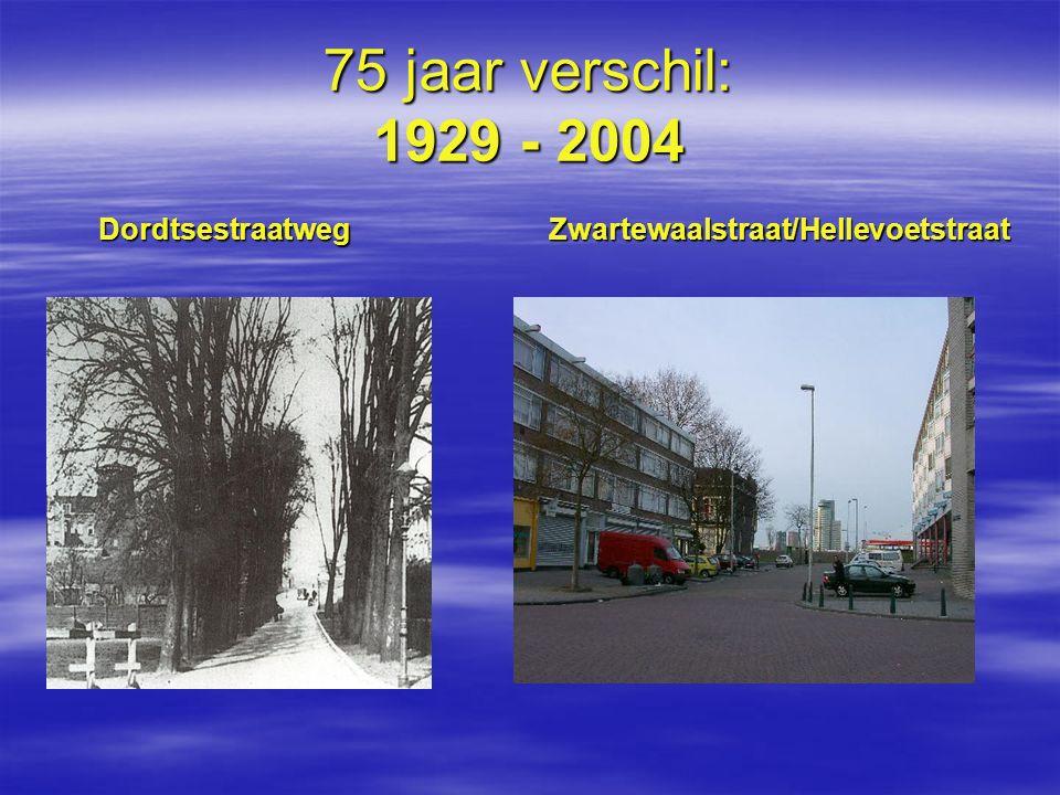 75 jaar verschil: 1929 - 2004 Dordtsestraatweg Zwartewaalstraat/Hellevoetstraat.