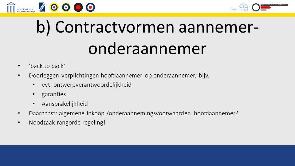 b) Contractvormen aannemer-onderaannemer