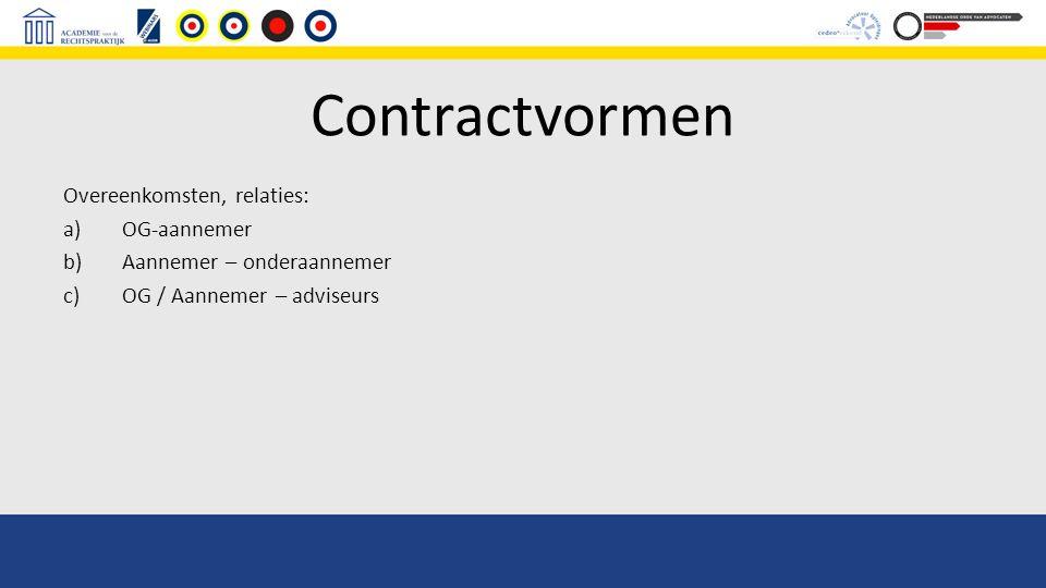 Contractvormen Overeenkomsten, relaties: OG-aannemer