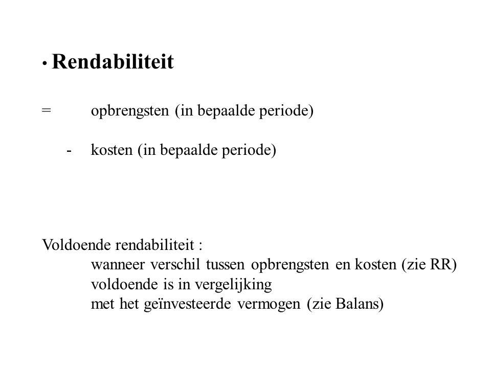 Rendabiliteit = opbrengsten (in bepaalde periode) - kosten (in bepaalde periode) Voldoende rendabiliteit :