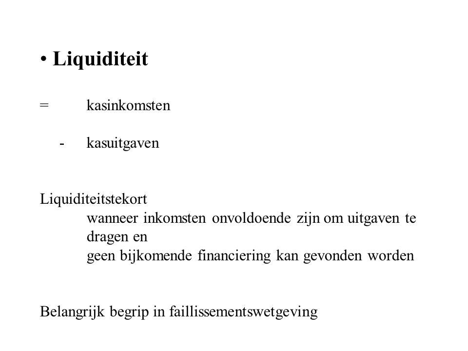 Liquiditeit = kasinkomsten - kasuitgaven Liquiditeitstekort