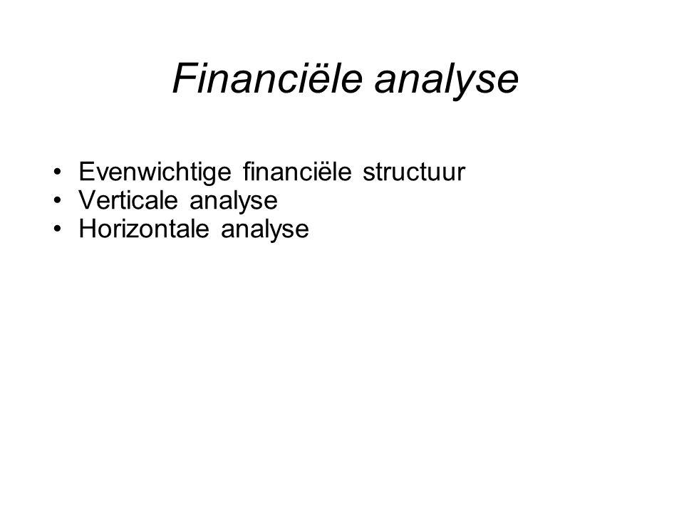 Financiële analyse Evenwichtige financiële structuur Verticale analyse