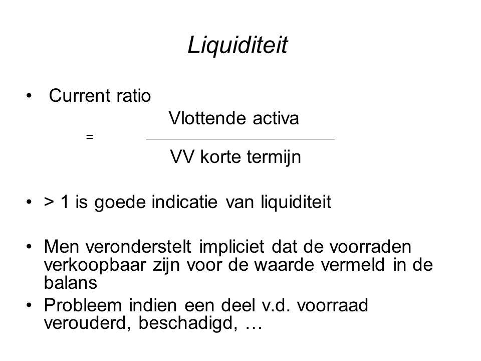 Liquiditeit Current ratio Vlottende activa VV korte termijn
