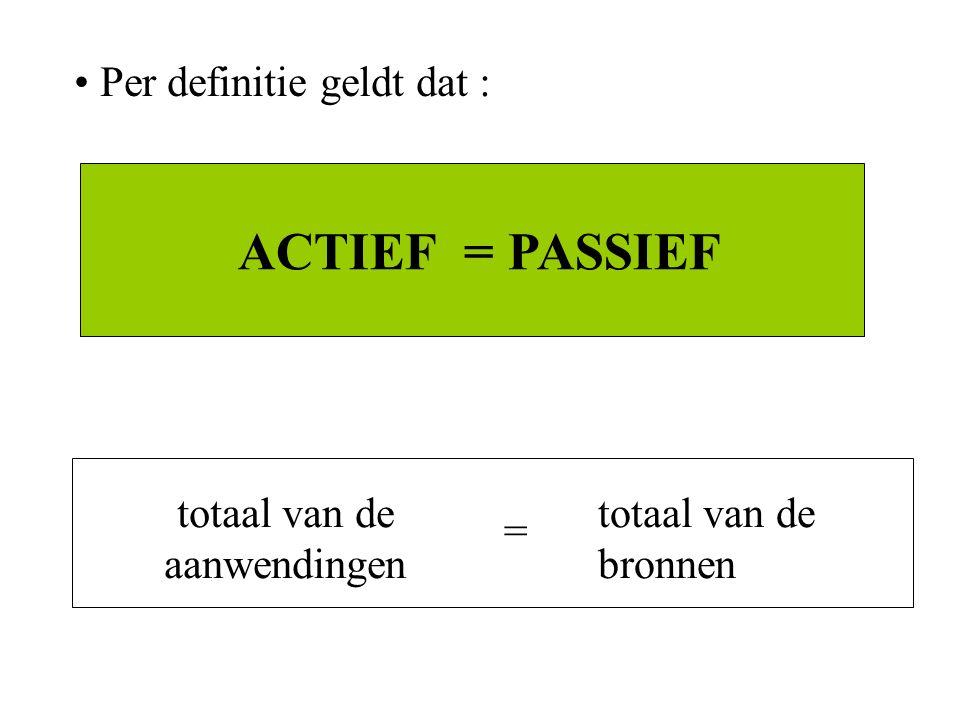 ACTIEF = PASSIEF Per definitie geldt dat : totaal van de aanwendingen