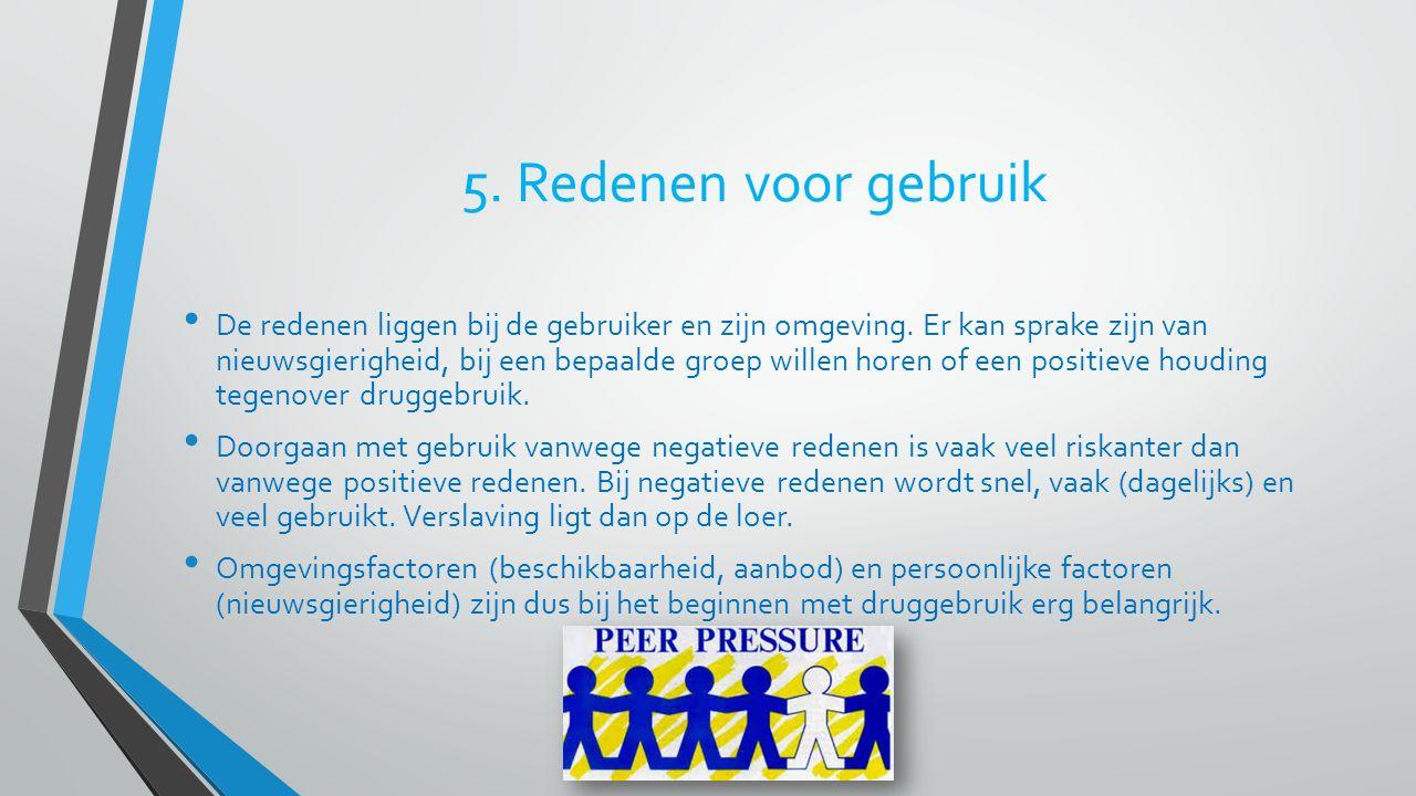 5. Redenen voor gebruik