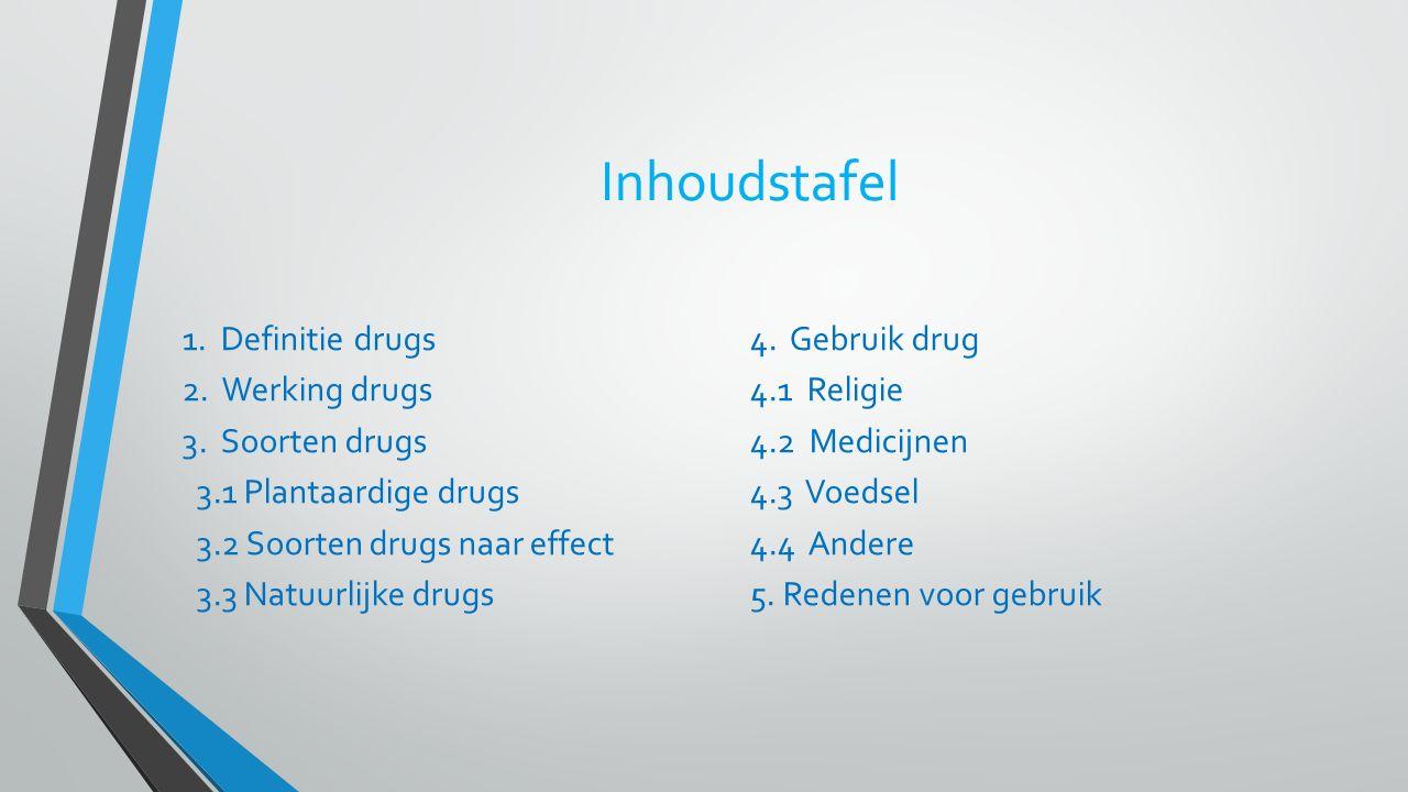 Inhoudstafel 1. Definitie drugs 4. Gebruik drug 2. Werking drugs