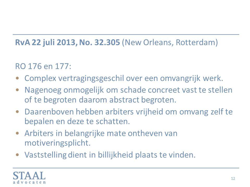 RvA 22 juli 2013, No. 32.305 (New Orleans, Rotterdam)