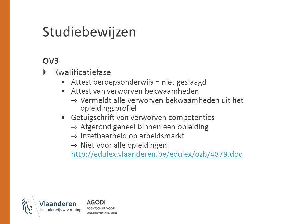 Studiebewijzen OV3 Kwalificatiefase