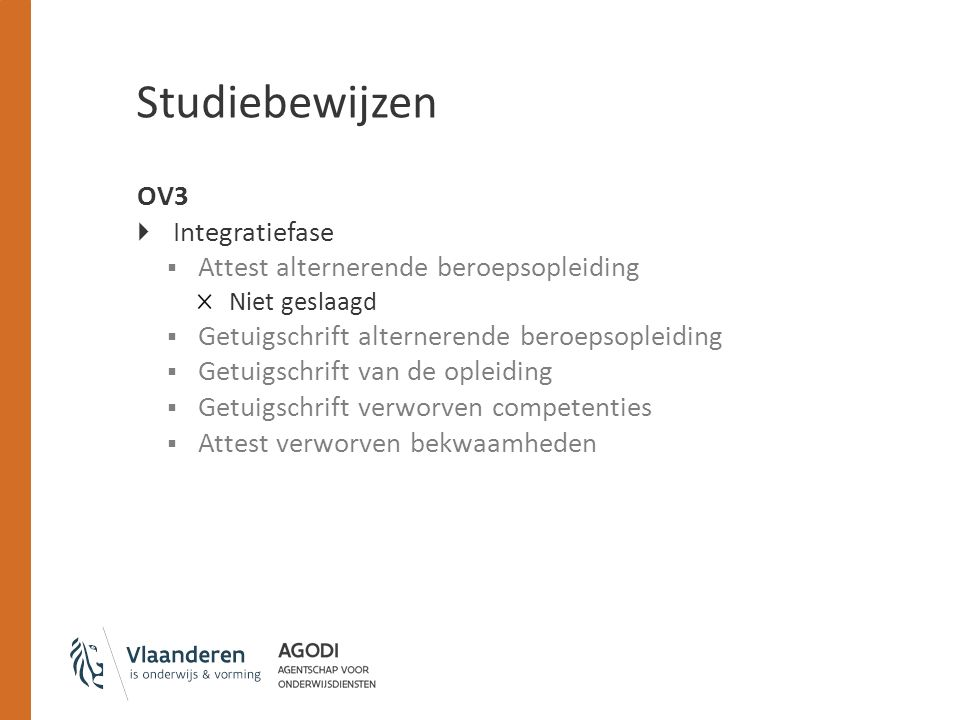 Studiebewijzen OV3 Integratiefase Attest alternerende beroepsopleiding