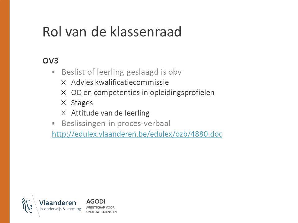 Rol van de klassenraad OV3 Beslist of leerling geslaagd is obv