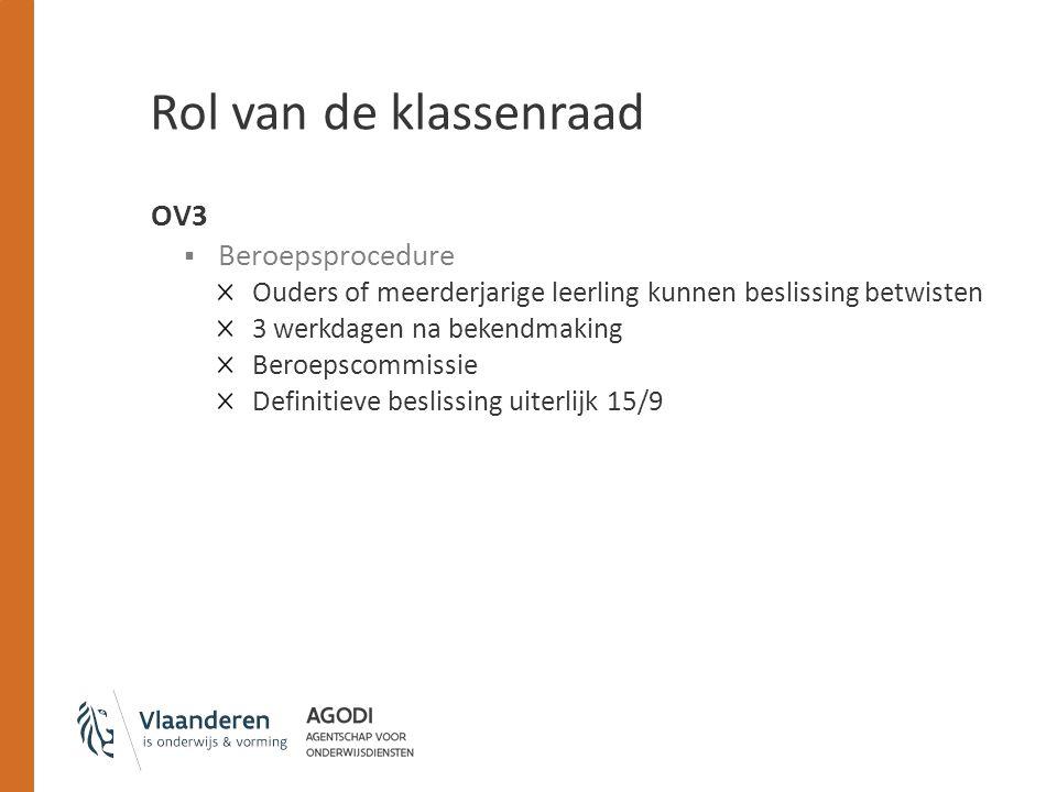 Rol van de klassenraad OV3 Beroepsprocedure