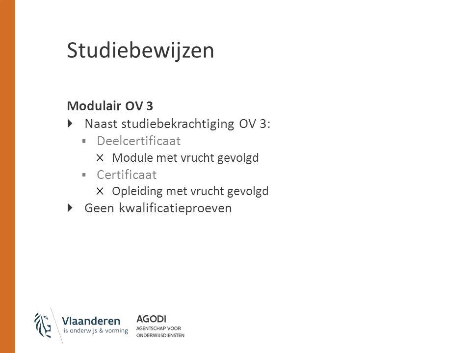 Studiebewijzen Modulair OV 3 Naast studiebekrachtiging OV 3: