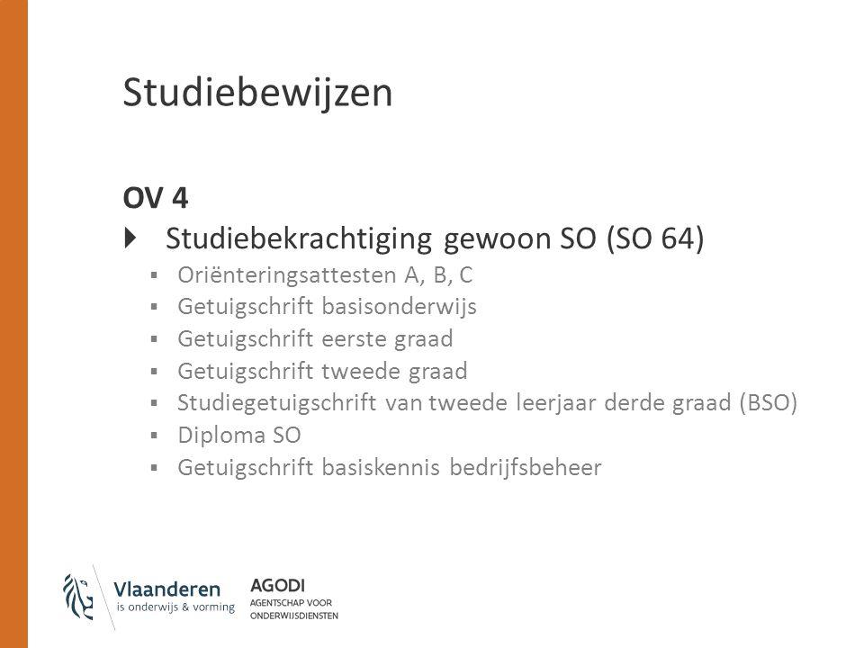 Studiebewijzen OV 4 Studiebekrachtiging gewoon SO (SO 64)