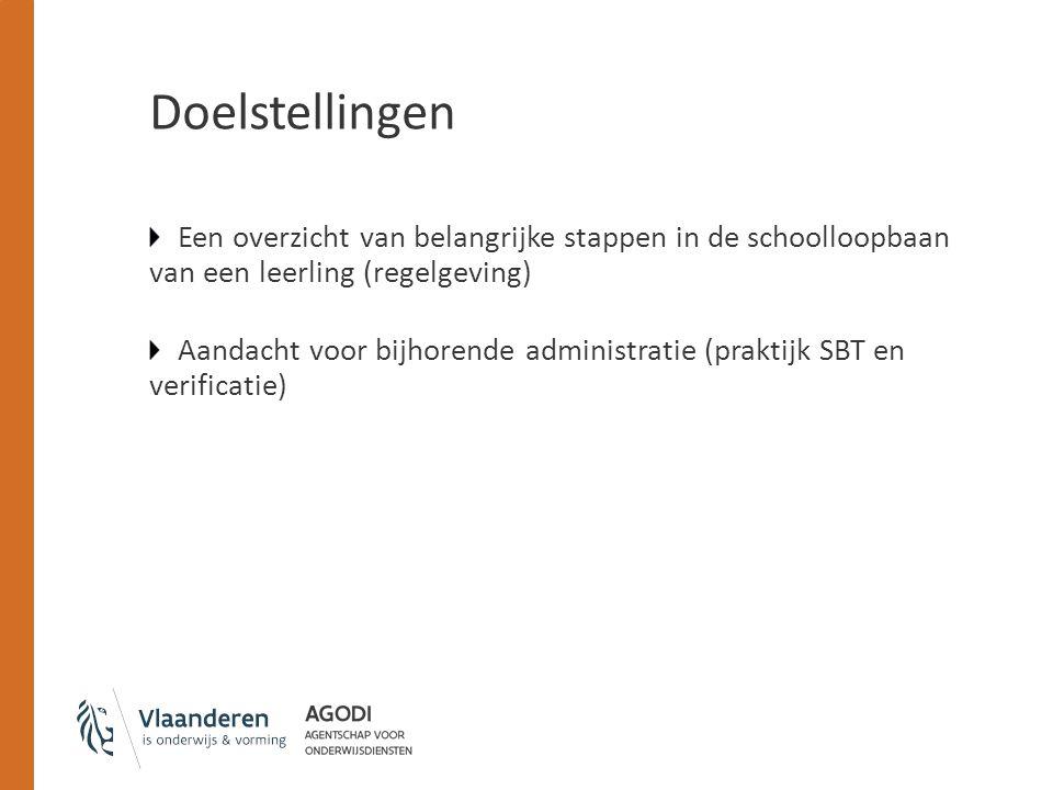 Doelstellingen Een overzicht van belangrijke stappen in de schoolloopbaan van een leerling (regelgeving)