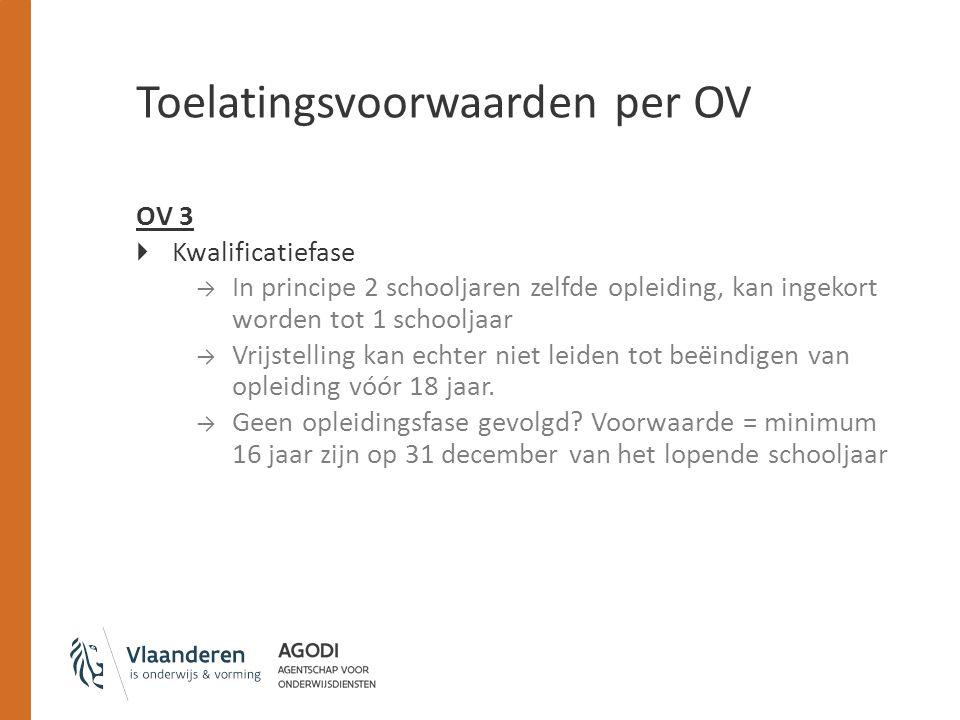 Toelatingsvoorwaarden per OV