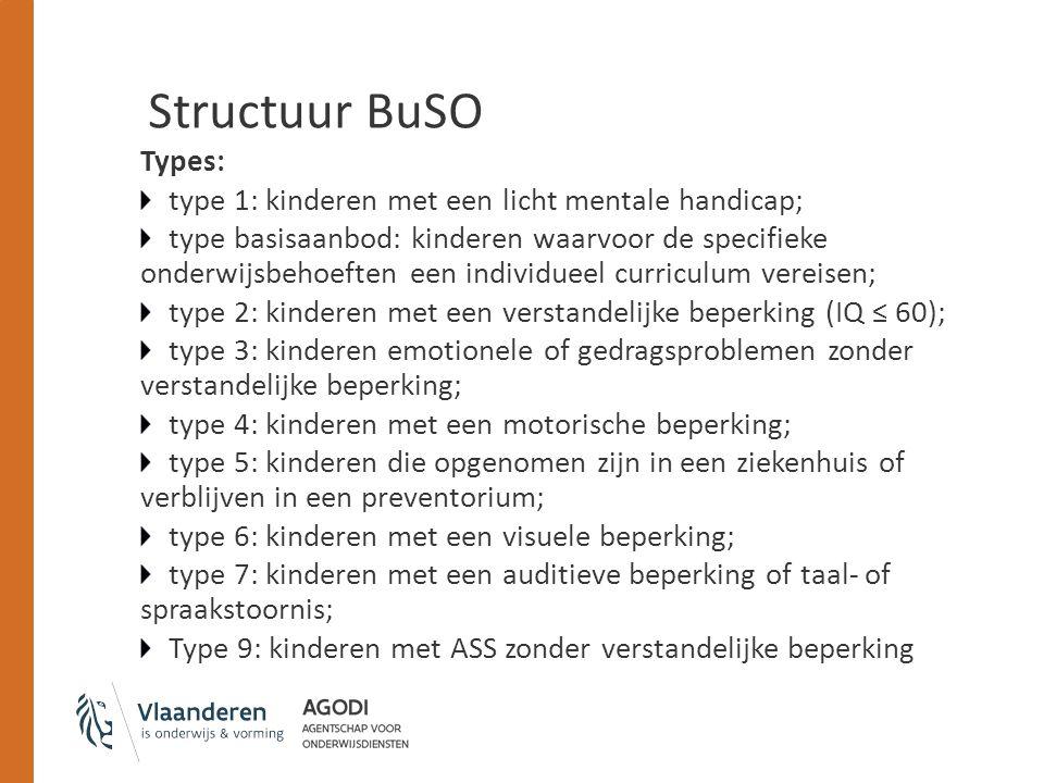 Structuur BuSO Types: type 1: kinderen met een licht mentale handicap;