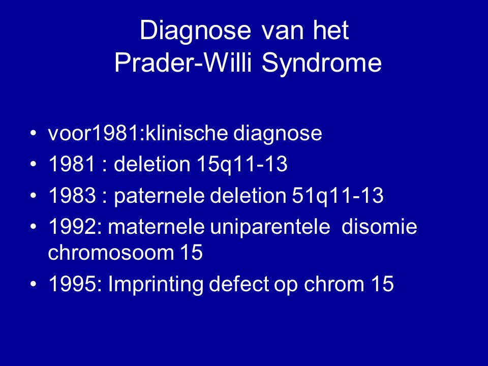Diagnose van het Prader-Willi Syndrome