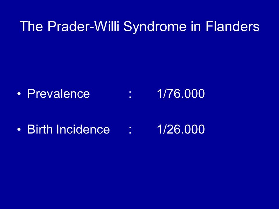 The Prader-Willi Syndrome in Flanders