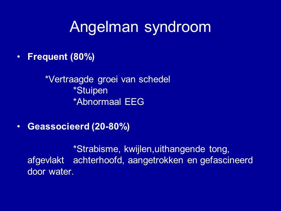 Angelman syndroom Frequent (80%) *Vertraagde groei van schedel *Stuipen *Abnormaal EEG.