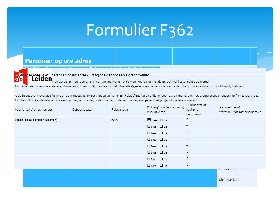 Formulier F362 Personen op uw adres Uw gegevens Uw woonsituatie