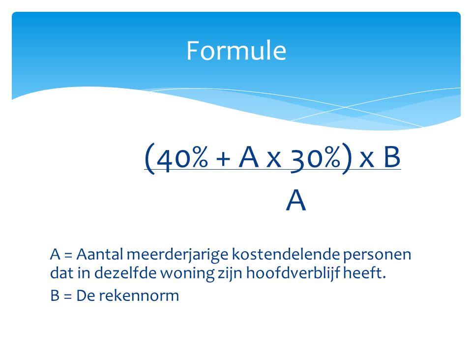 Formule (40% + A x 30%) x B. A. A = Aantal meerderjarige kostendelende personen dat in dezelfde woning zijn hoofdverblijf heeft.
