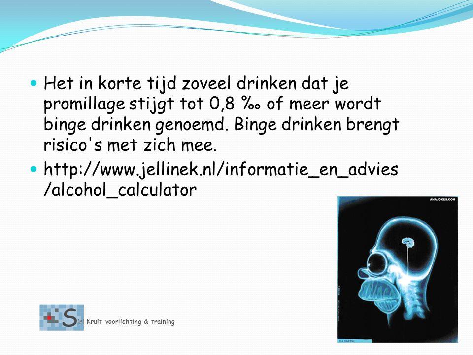 Het in korte tijd zoveel drinken dat je promillage stijgt tot 0,8 ‰ of meer wordt binge drinken genoemd. Binge drinken brengt risico s met zich mee.